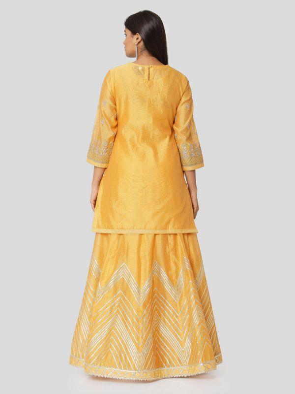 Pastel Orange Chanderi Skirt & Jacket Top With Gota Patti Work