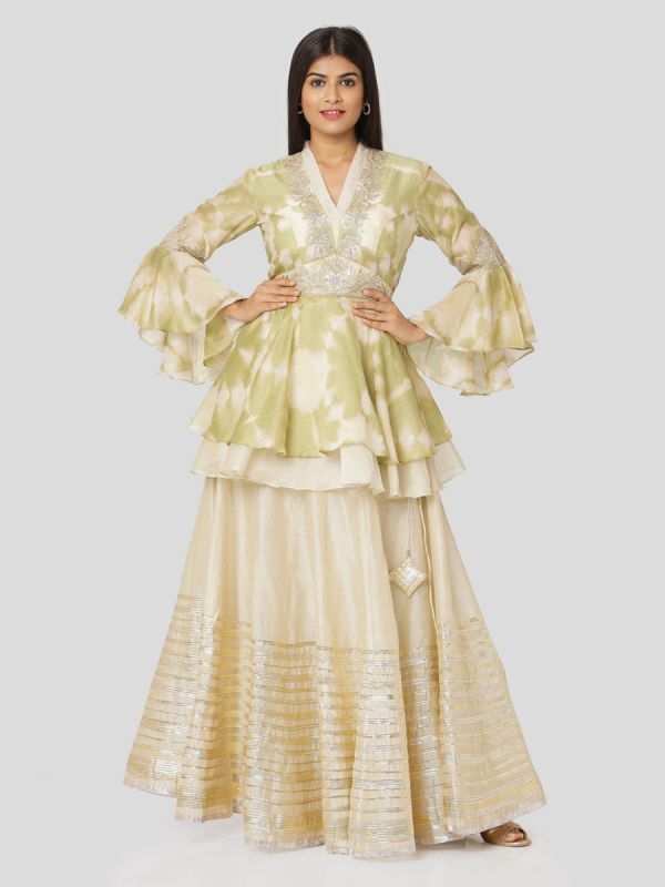 Beige Chanderi Skirt & Tie & Dye Jacket Top In Brass Green With Gota Patti Work & Bell Sleeves