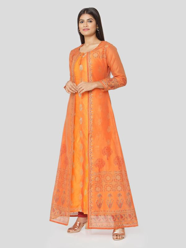 Orange Colour Pure Chanderi Hand Block Jacket Print Kurti With Banarasi Printed Yellow Inner