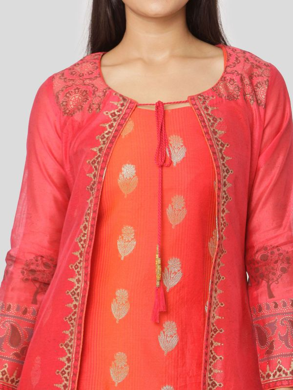 Peach Colour Pure Chanderi Hand Block Jacket Print Kurti With Banarasi Printed Orange Inner
