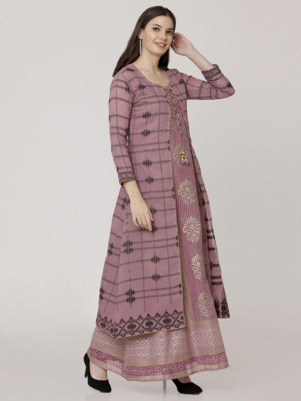 Wine Colour Pure Chanderi Weaving Long Jacket Kurti With Banarasi Block Printed Inner