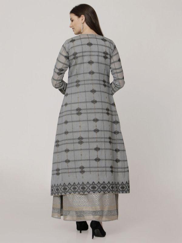 Grey Colour Pure Chanderi Weaving Long Jacket Kurti With Banarasi Block Printed Inner