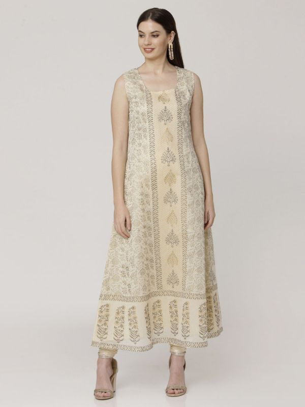 Cream Colour Pure Chanderi Weaving Long Jacket Kurti With Banarasi Block Printed Inner