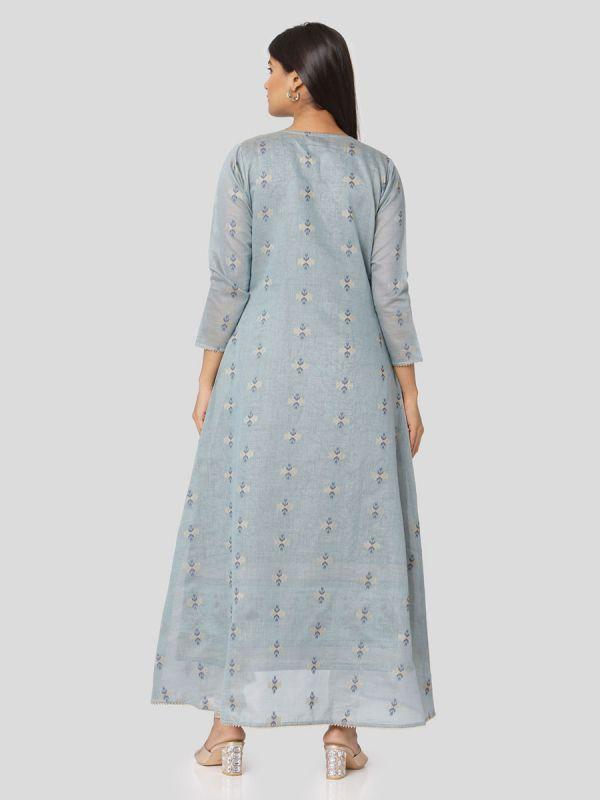 Light Blue Colour Pure Chanderi Weaving Long Jacket Kurti With Banarasi Block Printed Inner