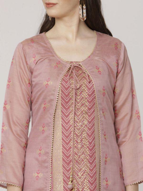 Light Pink Colour Pure Chanderi Weaving Long Jacket Kurti With Banarasi Block Printed Inner