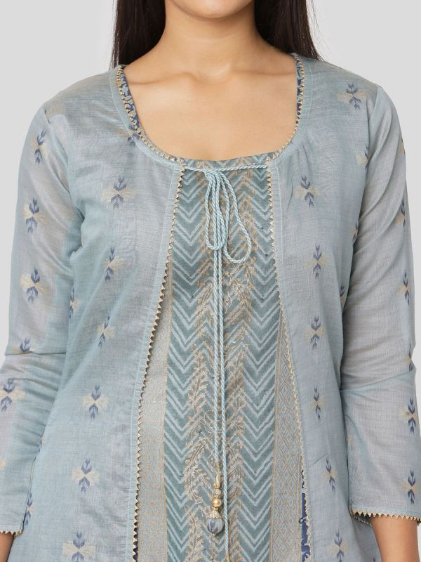 Light Blue Colour Pure Chanderi Weaving Long Jacket Kurti With Banarasi Block Printed Inner