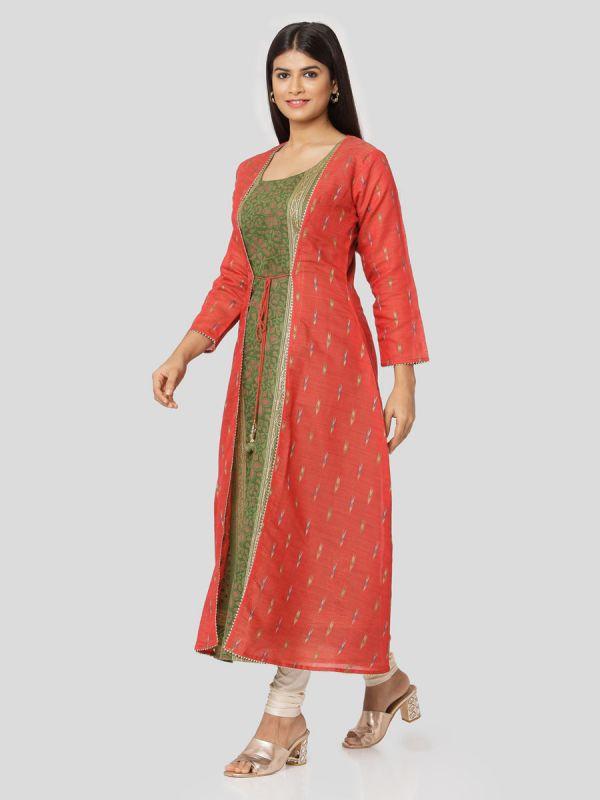 Tamato Red Colour Pure Chanderi Weaving Long Jacket Kurti With Banarasi Block Printed Inner