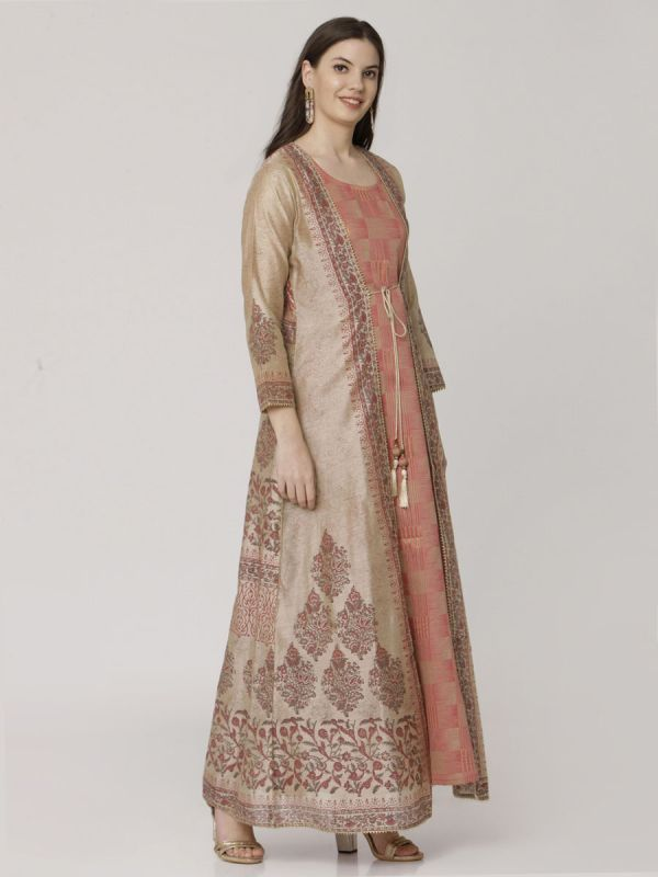 Light Brown Colour Pure Chanderi Block Print Long Jacket Kurti With Banarasi Weaving Inner