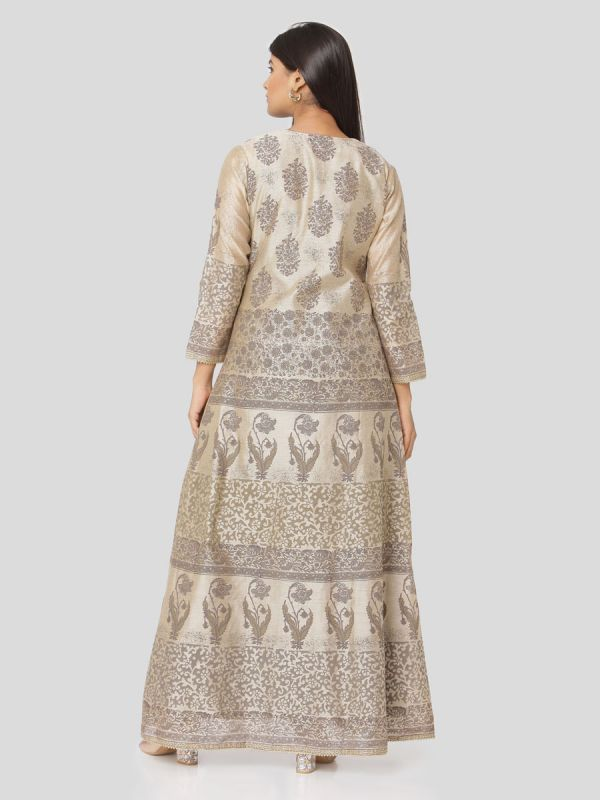 Beige Colour Pure Chanderi Block Print Long Jacket Kurti With Banarasi Weaving Inner
