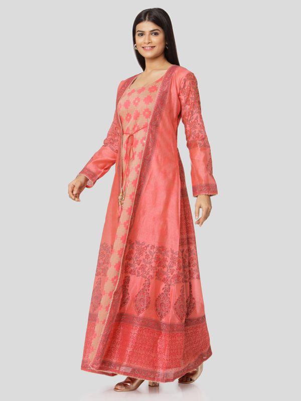Peach Colour Pure Chanderi Block Print Long Jacket Kurti With Banarasi Weaving Inner