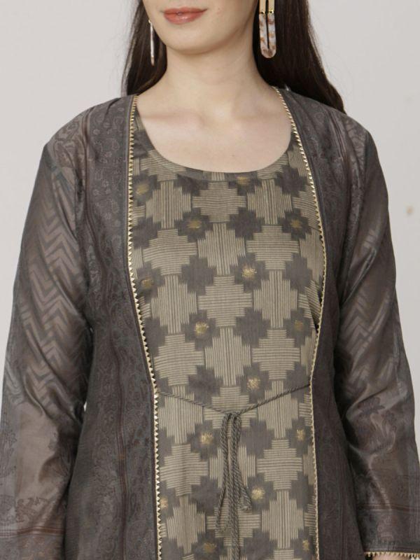 Dark Grey Colour Pure Chanderi Block Print Long Jacket Kurti With Banarasi Weaving Inner