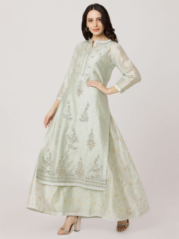 Mint Green Colour Pure Chanderi Long Kurti With Hand Embroidery & Screen Print Inner