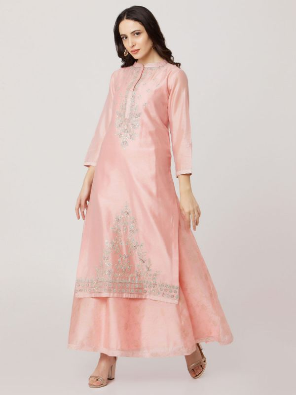 Baby Pink Colour Pure Chanderi Long Kurti With Hand Embroidery & Screen Print Inner