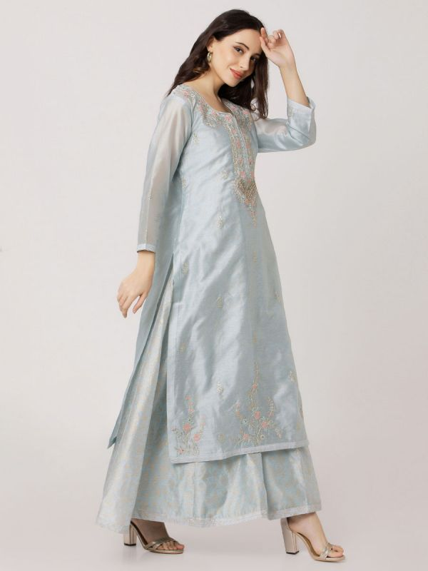 Alice Blue Pure Chanderi Long Kurti With Hand Embroidery & Screen Print Inner