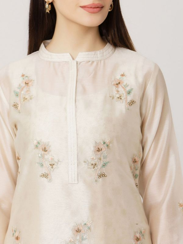 Ivory Colour Pure Chanderi Long Kurti With Hand Embroidery & Screen Print Inner