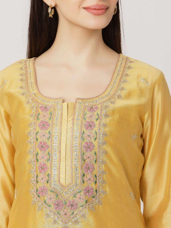 Lemon Yellow Colour Pure Chanderi Long Kurti With Hand Embroidery & Screen Print Inner