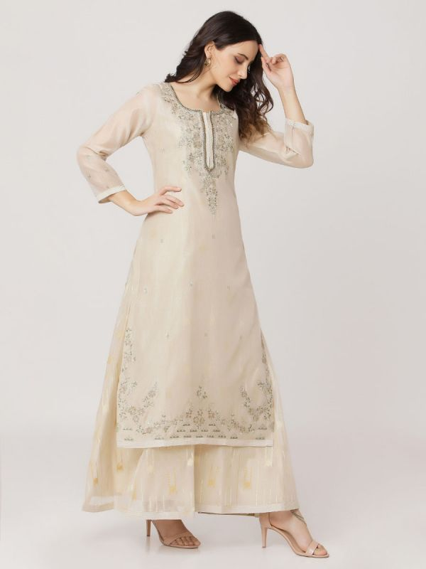 Cream Colour Pure Chanderi Long Kurti With Hand Embroidery & Screen Print Inner