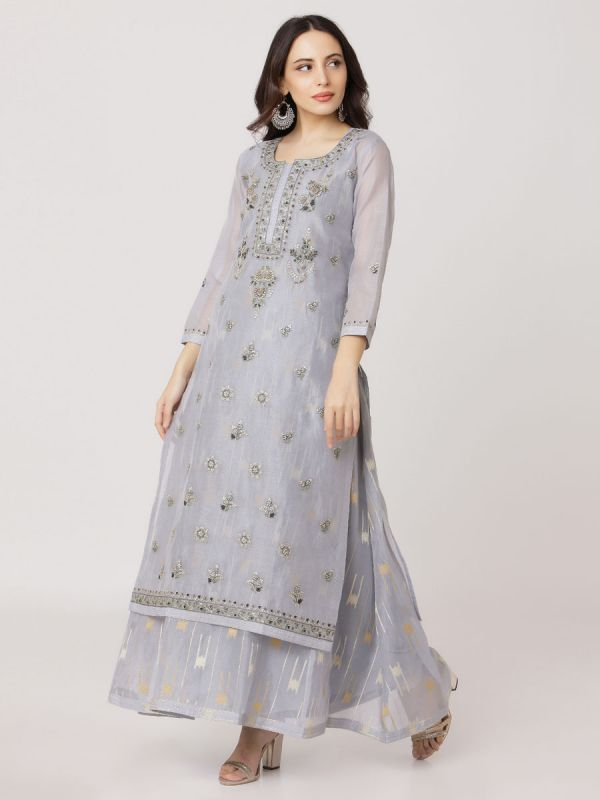 Light Cool Grey Colour Pure Chanderi Long Kurti With Hand Embroidery & Banarasi Weaving Inner