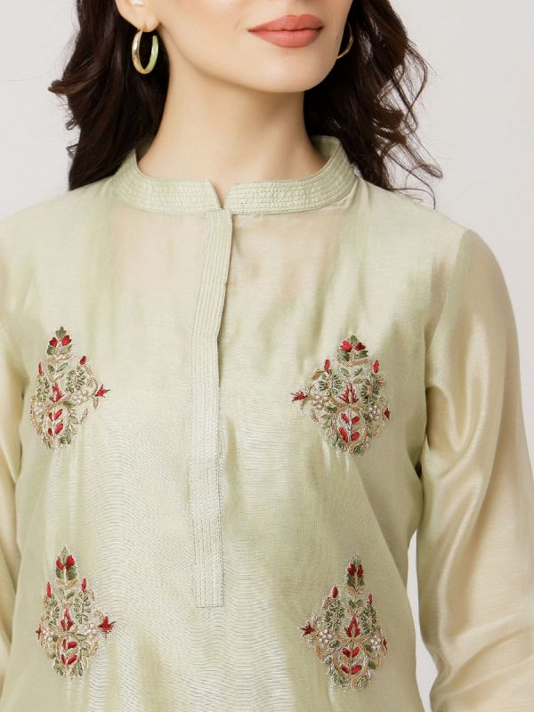Pista Green Colour Pure Chanderi Long Kurti With Hand Embroidery & Screen Print Inner
