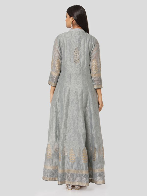 Cool Grey Colour Organza Hand Block Print Mirror Work Arankali Kurti With Dupatta