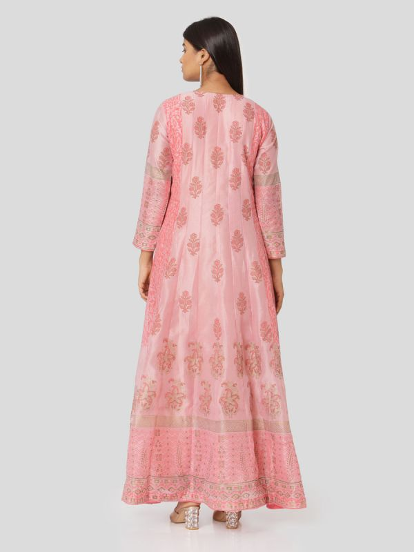 Tea Rose Colour Organza Hand Block Print Mirror Work Arankali Kurti With Dupatta