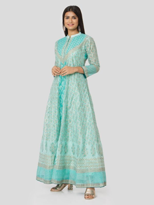 Turquoise Green Colour Organza Hand Block Print Mirror Work Arankali Kurti With Dupatta