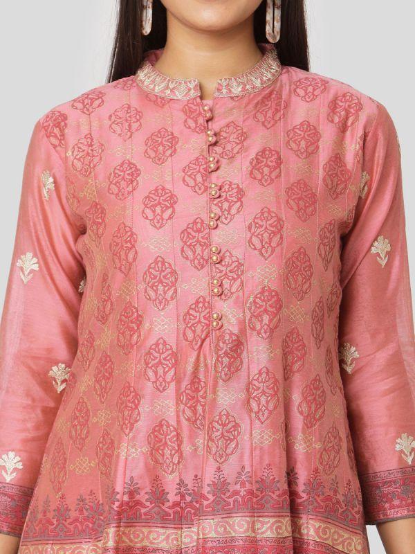 Blush Pink Colour Chanderi Hand Block Print Arankali Kurti Computer Emroidery With Dupatta