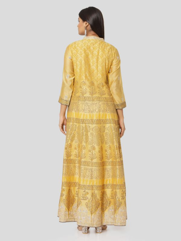 Marigold Yellow Chanderi Hand Block Print Arankali Kurti With Computer Emroidery With Dupatta