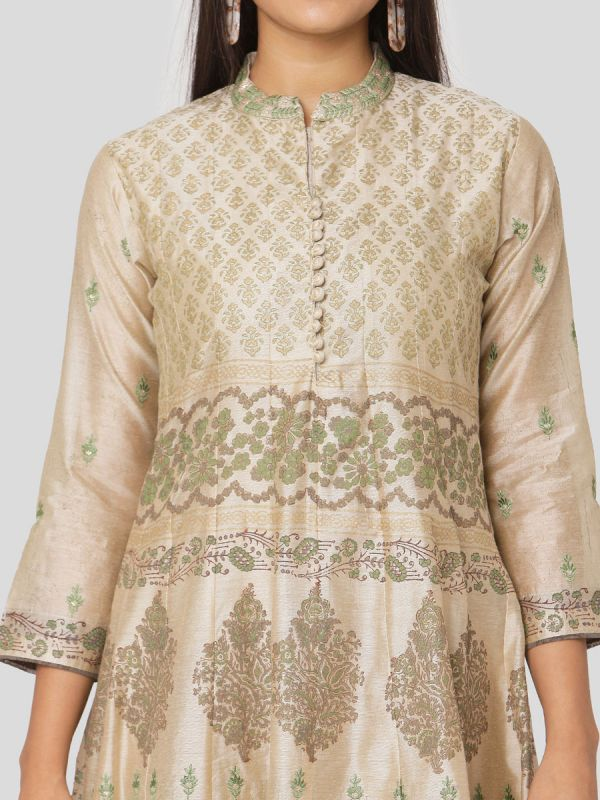 Teal Green & Beige Colour Chanderi Hand Block Print Arankali Kurti With Computer Emroidery With Dupatta