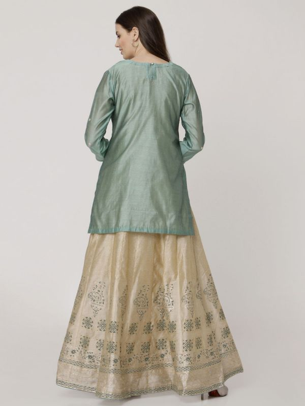 Viridian Green Colour Chanderi Hand Block Print Arankali Kurti Machine Emroidery Work With Organza Dupatta