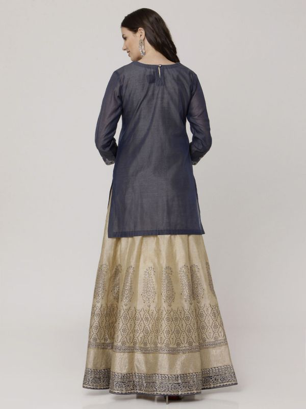 Navy Blue Colour Chanderi Hand Block Print Arankali Kurti Machine Emroidery Work With Organza Dupatta