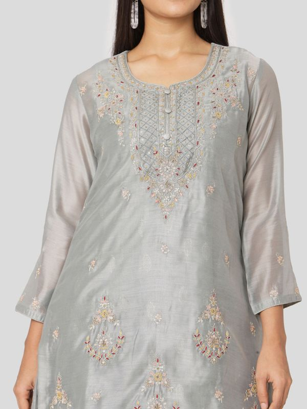 Alice Blue Colour Pure Chanderi Long With Hand Embroidery Kurti & Screen Print Inner Along With Dupatta