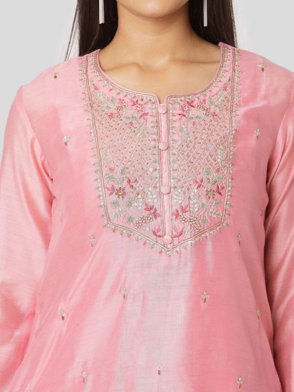 Rose Pink Colour Pure Chanderi Long Kurti With Hand Embroidery & Screen Print Inner With Dupatta