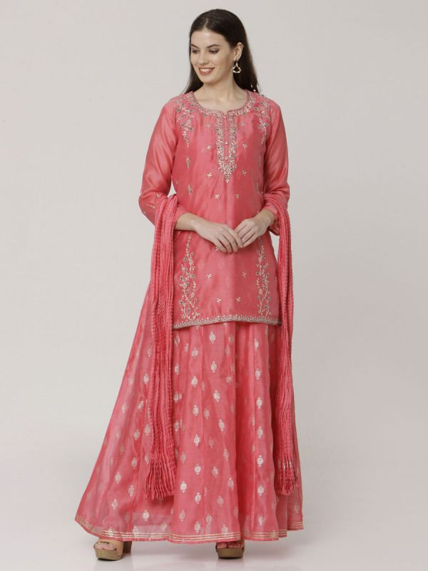 Blush Peach Colour Pure Chanderi Long Kurti With Hand Embroidery & Screen Print Inner With Dupatta