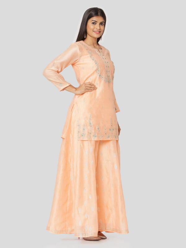 Apricot Orange Colour Pure Chanderi Long Kurti With Hand Embroidery & Screen Print Inner With Dupatta