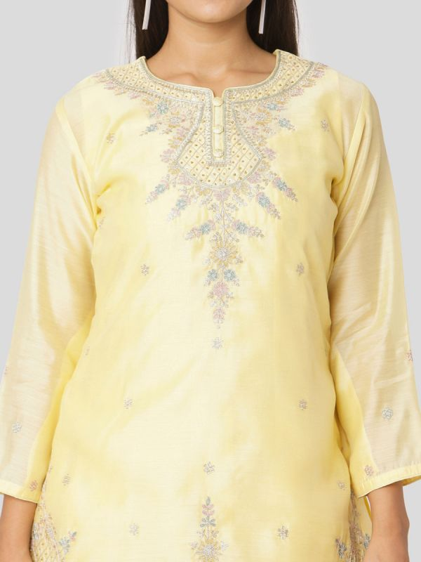 Marzipan Yellow Colour Pure Chanderi Long Kurti With Hand Embroidery & Screen Print Inner With Dupatta