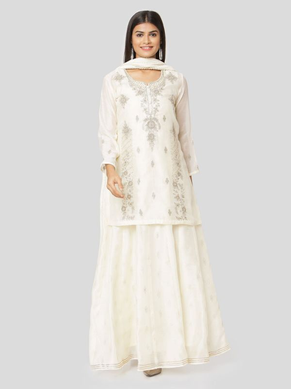 Milky White Colour Pure Chanderi Long Kurti With Hand Embroidery & Screen Print Inner With Dupatta