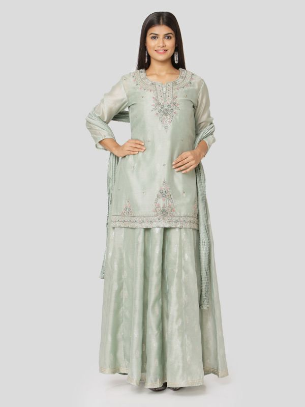 Mint Green Colour Pure Chanderi Long Kurti With Hand Embroidery & Screen Print Inner With Dupatta
