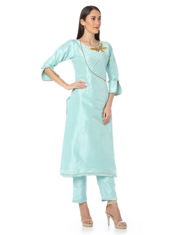 Sky Blue Salwar Pant Set Along With Contras Dupatta