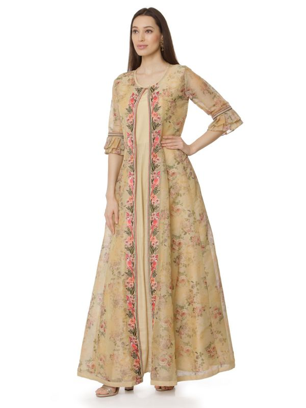 Net Gown With Embroidery Yok Work With Attached Jacket In Beige