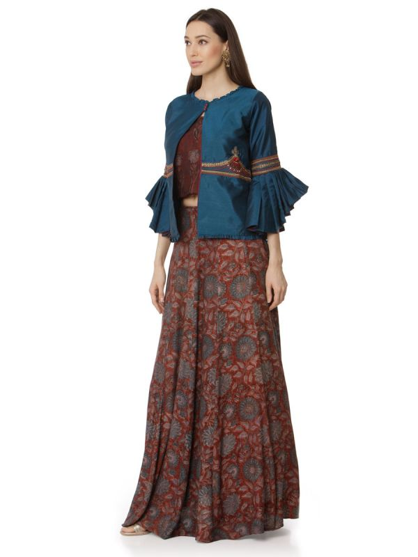 Royal Blue Party Wear Skirt And Crop Top With Cotton Silk Embroidery Jacket, Fancy Work On Sleeves