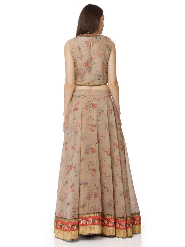 Beige & Orange Indo Western Skirt Top Floral Prints With Net Dupatta