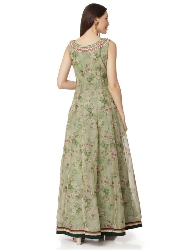 Organza Flower Print Neckline Gown In Green