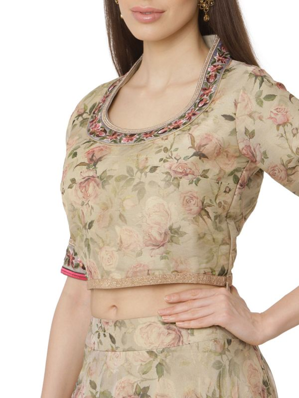 Beige Crop Top With Organza Ghaghra And Heavy Embroidery Sleeves Along With Net Dupatta
