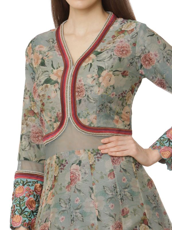 Net Gown With Embroidery Yok Work With Attached Jacket In Blue