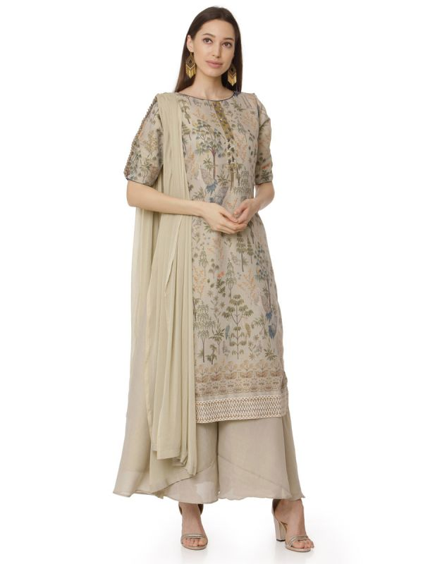 Beige Embroidery Work Salwar Pant Set With Dupatta