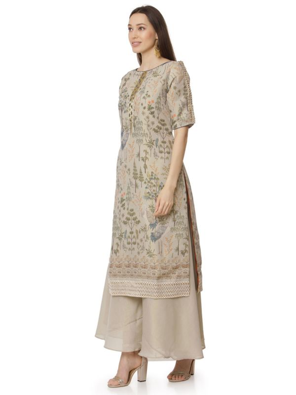 Beige Embroidery Work Salwar Pant Set With Dupatta