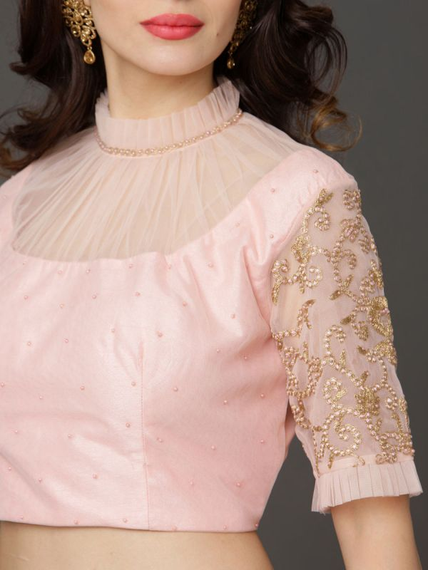 Cotton Crop With Net Collar And Heavy Embroidery Sleeves Floral Printed Ghaghra With Net Dupatta