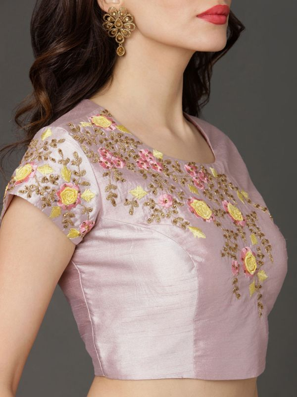 Light Purple & Yellow Crop Top Heavy Embroidery Work And Printed Ghaghra With Net Dupatta