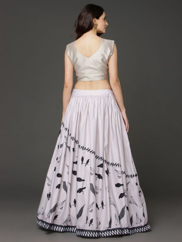 Cotton Crop Top Embroidery Yok Work And Bird Print In Ghaghra With Net Dupatta